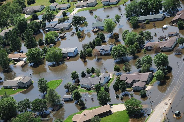Aerial photo of flooded homes in Wisconsin