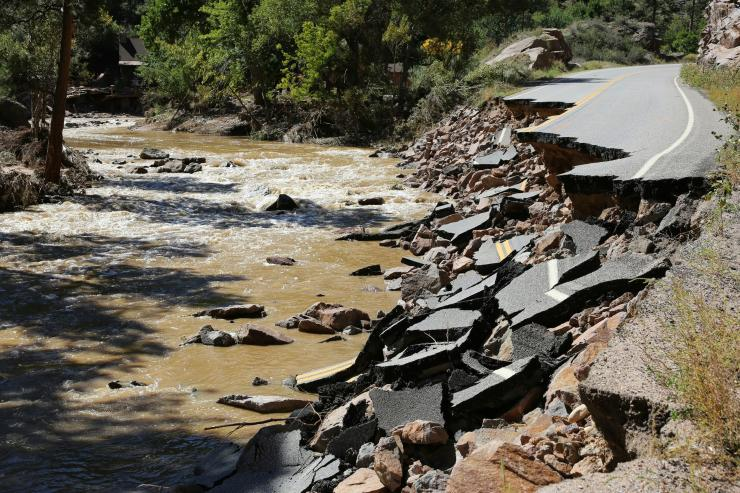 Damaged road after flooding in Colorado