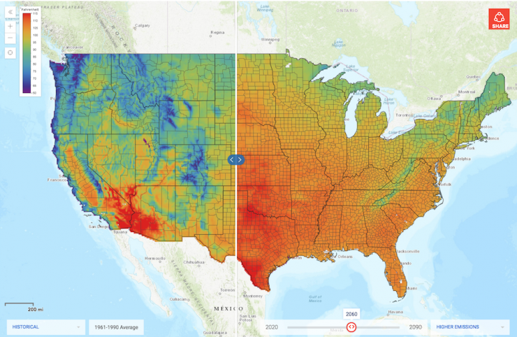 Map comparison with warmer colors on right