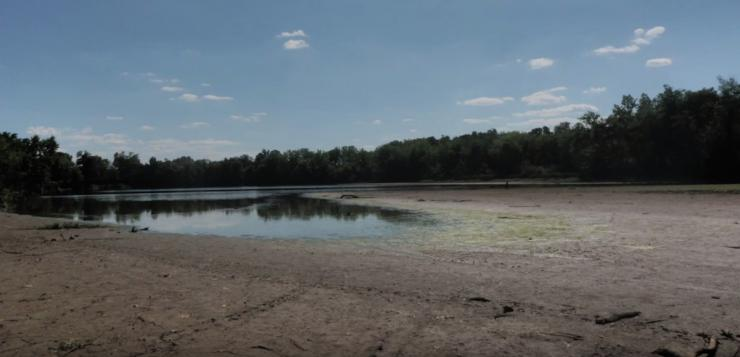 Low water levels exposed the bottom of City Lake
