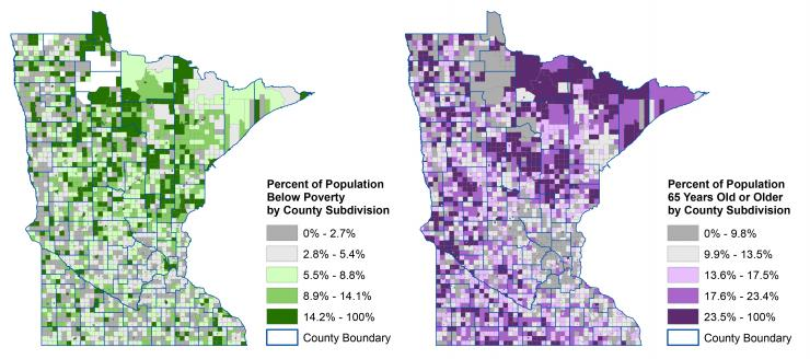 Patterns of poverty and advanced age across Minnesota