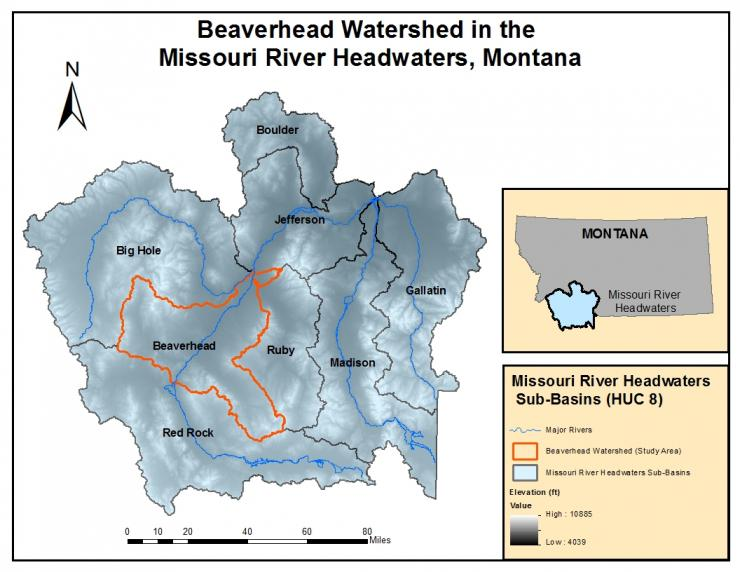 Watershed map of SW Montana
