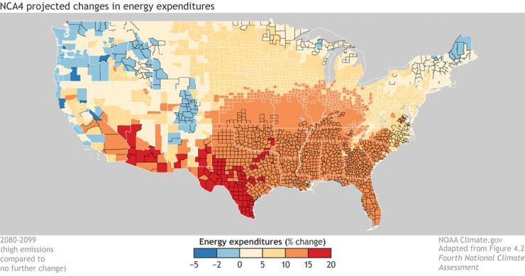 Contiguous U.S. map shows increasing energy costs for all but the coolest locations