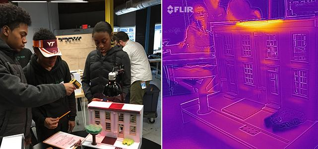 Students working on a heat experiment taken with a regular (left) and FLIR (right) camera