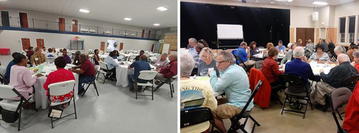 Two photos of participants at climate adaptation workshops held in Georgetown County, South Carolina