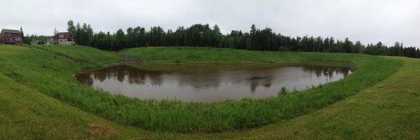 A stormwater detention basin