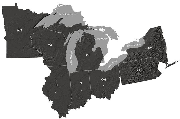 Map of the Great Lakes region