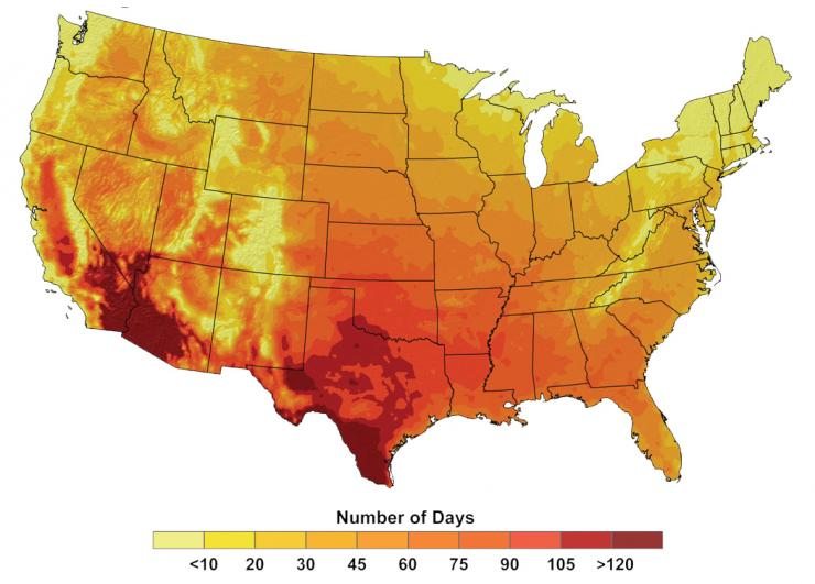 Map showing number of days above 100°F, 2080-2099, under a higher emissions scenario