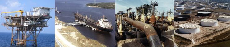 Petroleum infrastructure at sea level