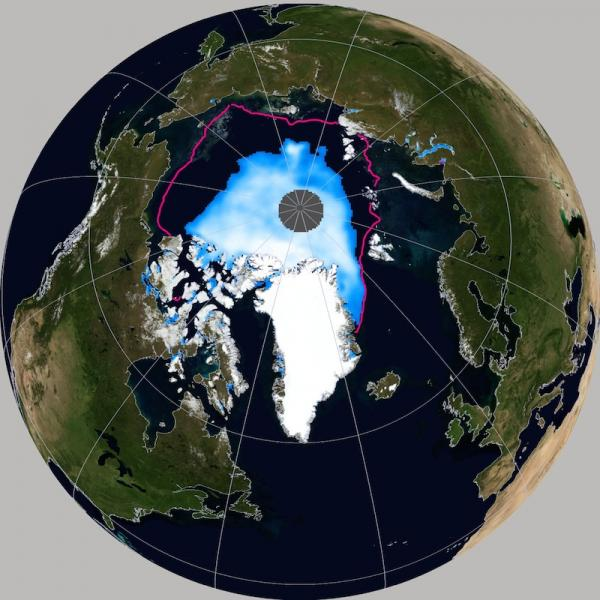 View of Earth's North Pole with record-low sea ice extent
