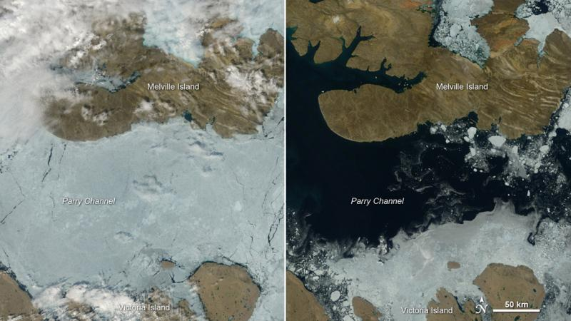 Left: Satellite view of ice and land. Right: Satellite view of open water and land.