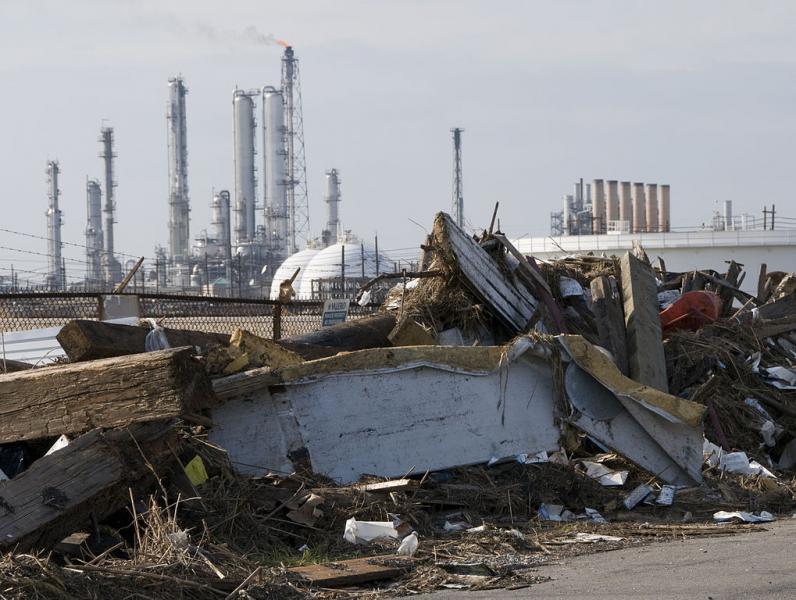 Storm debris near an oil refinery in Port Arthur, Texas