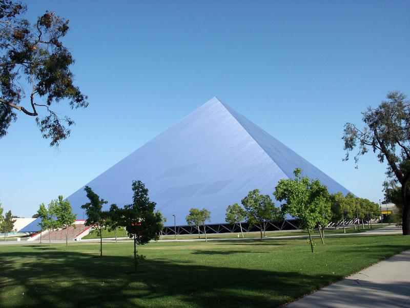 Light blue pyramid-shaped building