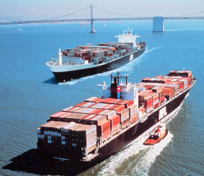 Photo of two container ships