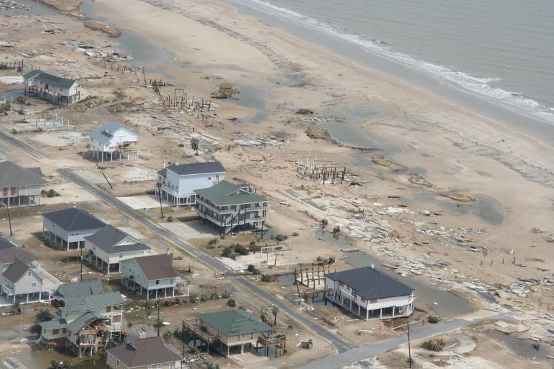 Storm surge damage caused by Hurricane Ike