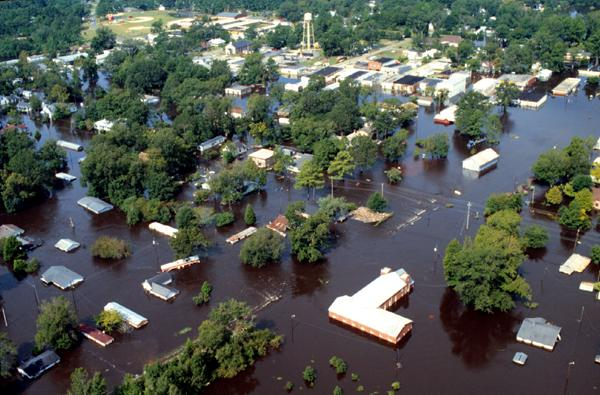 Inland flooding in North Carolina after Hurricane Floyd