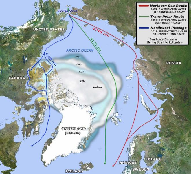 Map of Arctic region with shrinking ice extents and shipping routes across open water