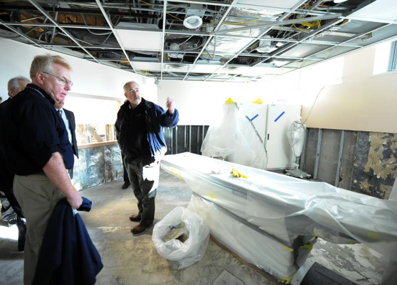 Photo of FEMA Administrator Fugate visiting Coney Island Hospital to view damage from Hurricane Sandy