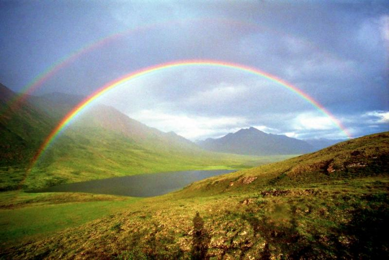 Photo of a rainbow over the Canning River, Arctic National Wildlife Refuse