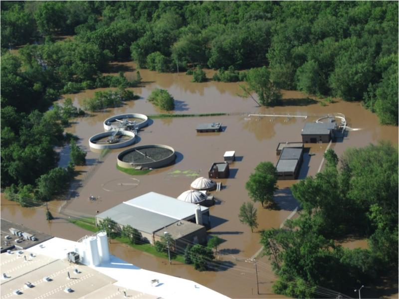 Aerial view of flooded wastewater treatment plant