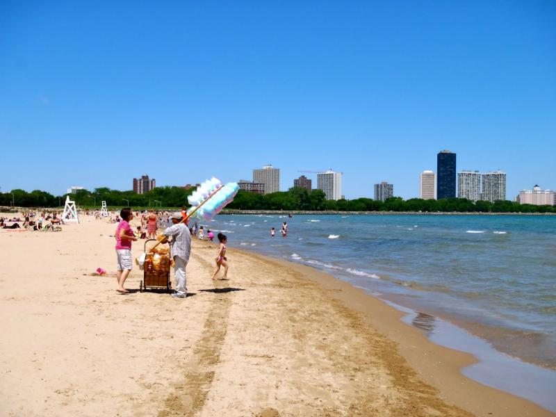 People on a Lake Michigan beach, near Chicago