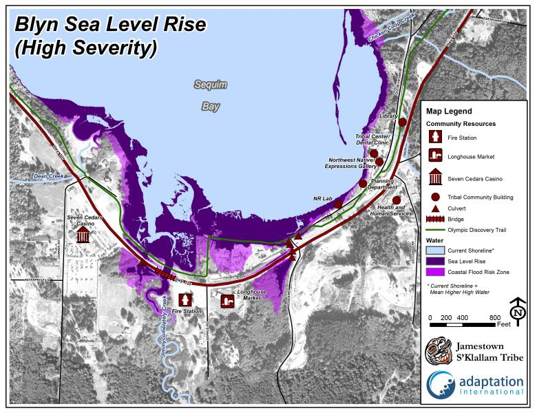 Sea level rise map for the Blyn area toward the end of the century.