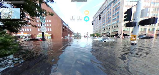 Visualization of a city street with water about 3 feet deep