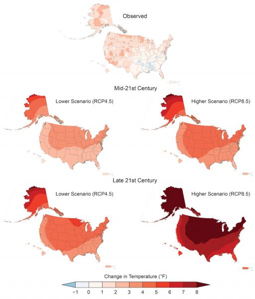 Maps of Observed and Projected Temperature Change in the U.S.