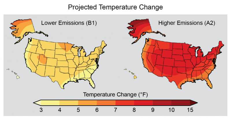 Maps Showing Projected Temperature Change in the U.S.