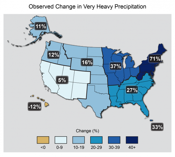 Map Showing Very Heavy Precipitation in the U.S.