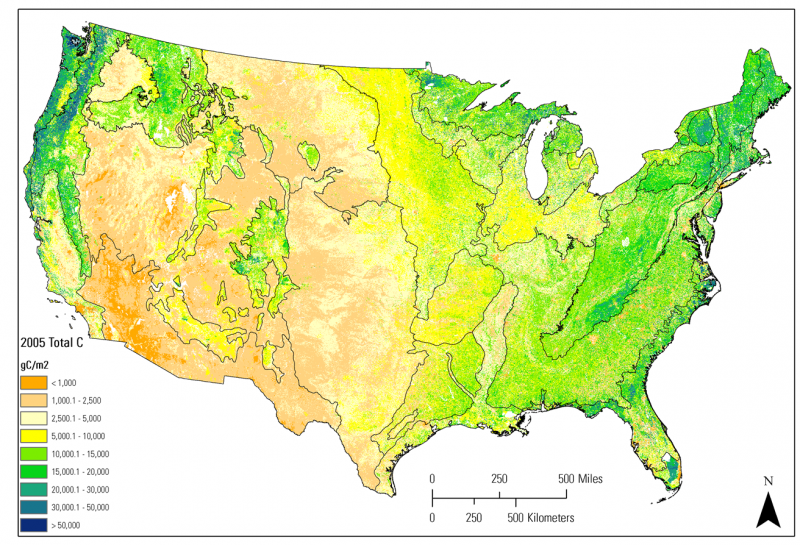 Map Showing Average amount of carbon stored in all terrestrial ecosystems in the conterminous United States in 2005