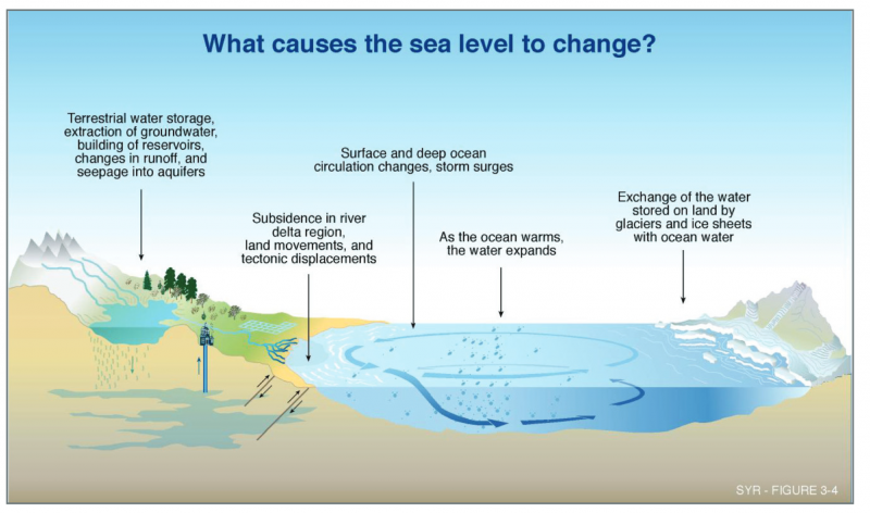 Graphic explaining sources of sea level change.