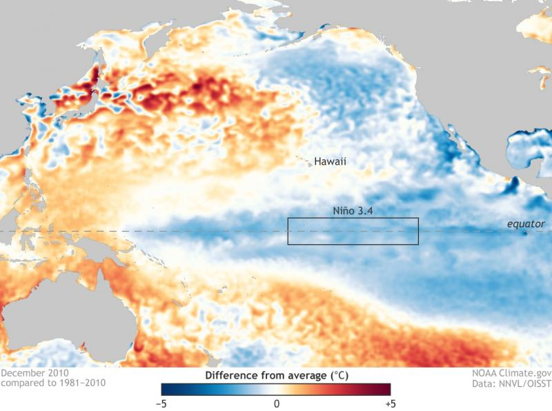 Map showing cool sea surface temperatures along equator