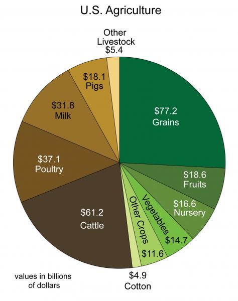 Chart Depicting Monetary Value of U.S. Agriculture Products by Category