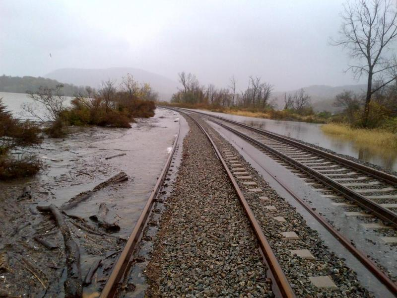 Photo of floodwaters along railroad track