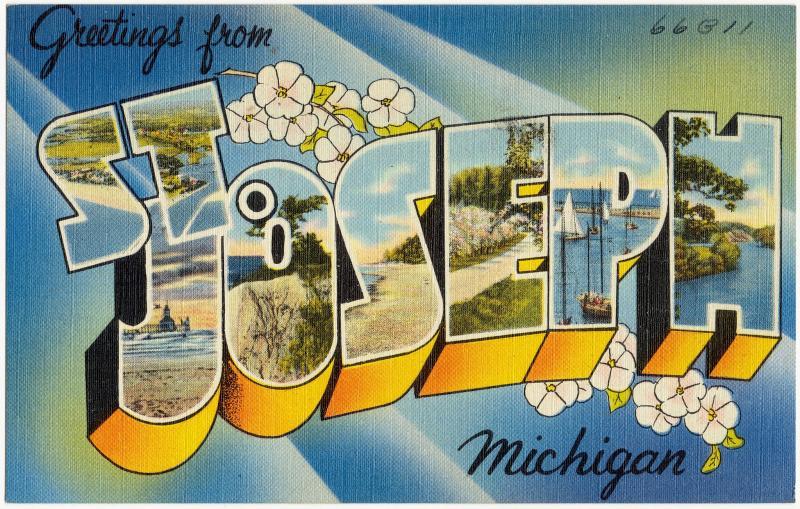 "A postcard reading: ""Greetings from St. Joseph Michigan!"""