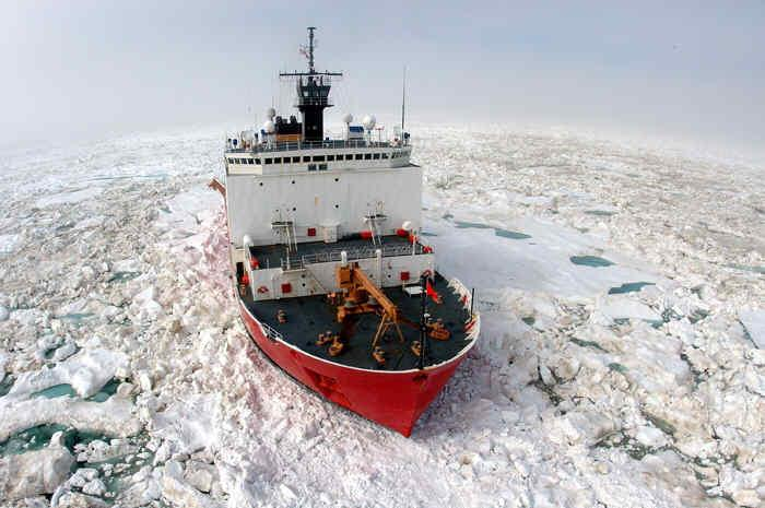 Photo of icebreaker (ship) in icy waters