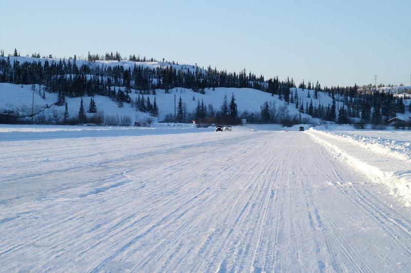 Flat road across ice