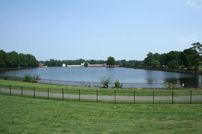 Photo of a water treatment plant reservoir