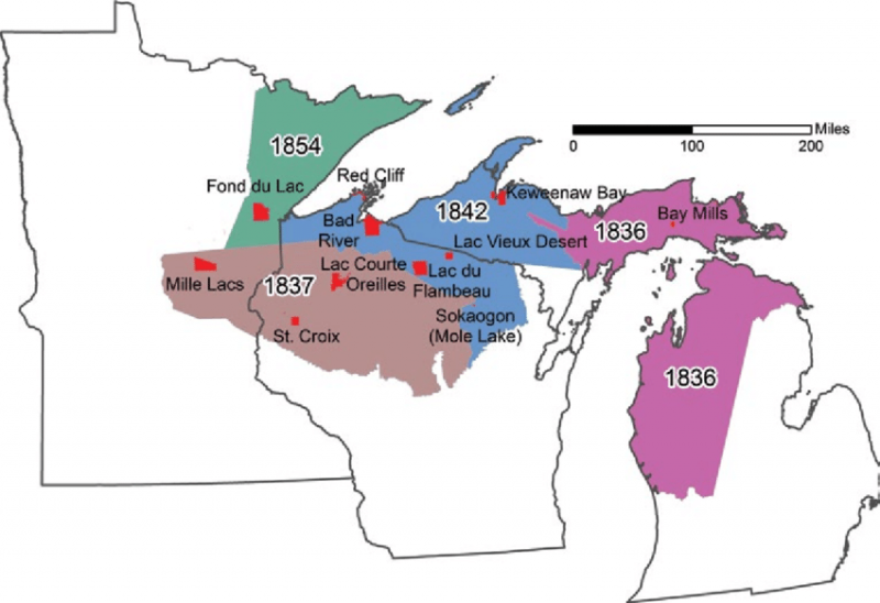 Map of the ceded territories in the Great Lakes states