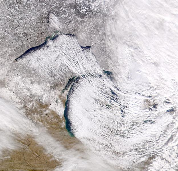 Satellite image of lake-effect snow occurring over the Great Lakes region
