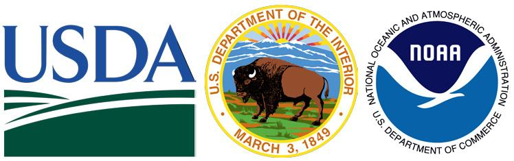 Logos of the USDA, DOI, and NOAA