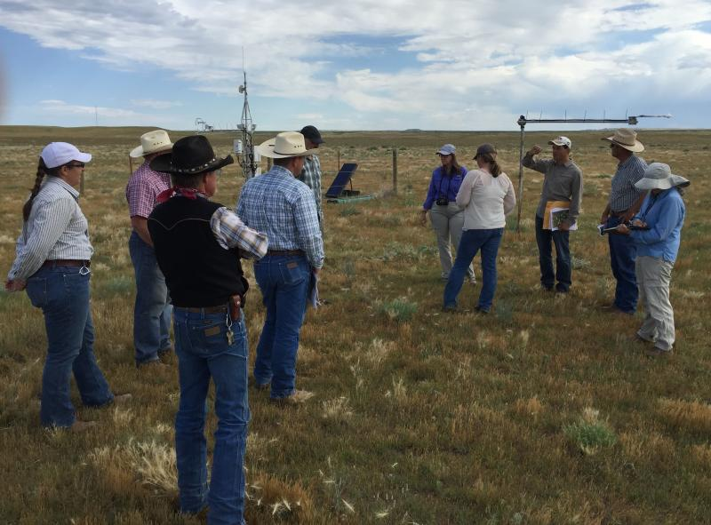Group of people examining ranch land