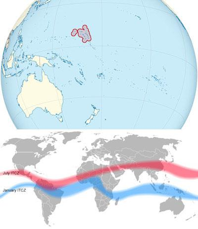 Locations of Marshall Islands and ITCZ