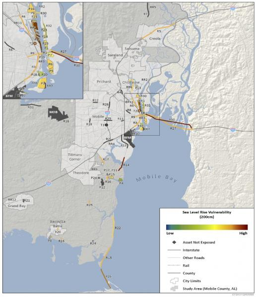 Map showing vulnerability of selected transportation assets in Mobile Bay, Alabama