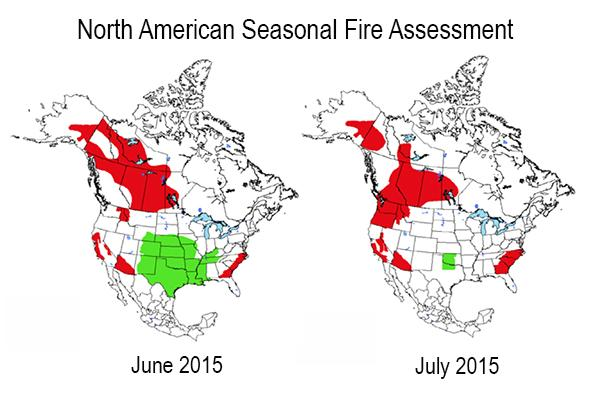 Map showing increased chances for wildfire activity in Canada in June and July, 2015