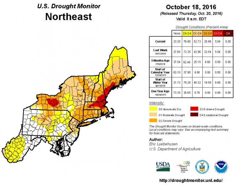 Map of the northeastern United States showing drought conditions