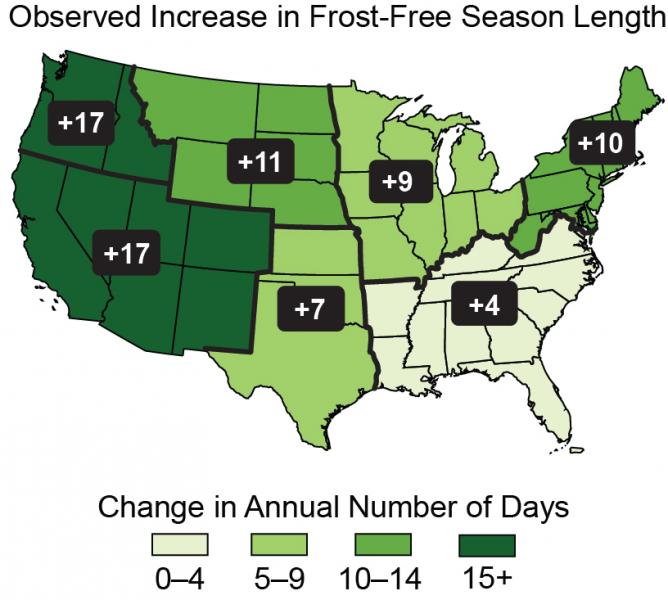 Map of the contiguous United States showing regional observed increases in the frost-free season length