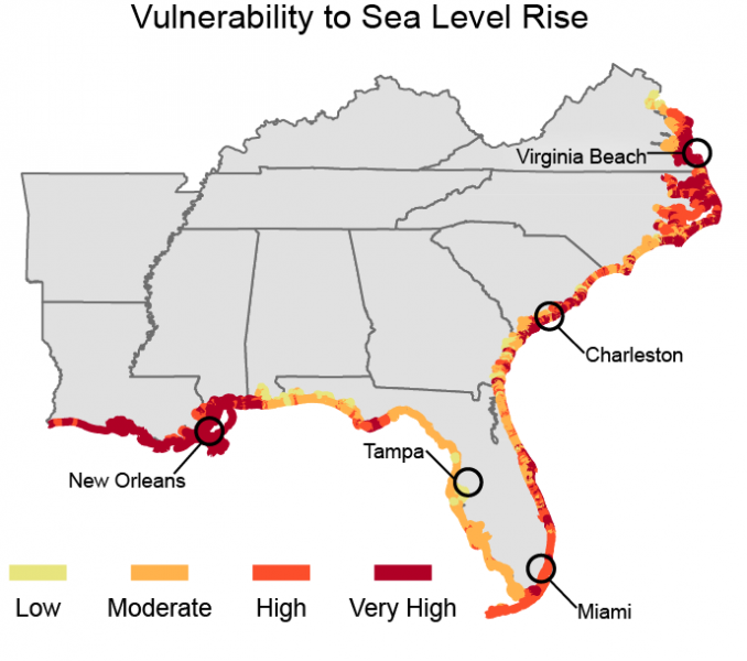 Map showing the relative risk that physical changes will occur as sea level rises in the Southeast U.S.