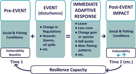 Boxes represent a pre-event, disturbance, adaptive response, and impact in a coastal community